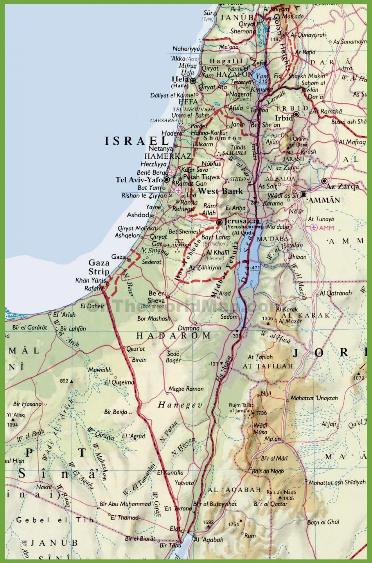 Israelin Kartta Israelin Kaupunkeja Kartta Lansi Aasia Aasia
